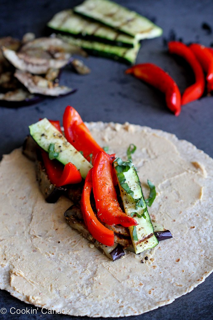 Grilled Vegetable Wrap Recipe with Hummus | cookincanuck.com #vegan #vegetarian #MeatlessMonday