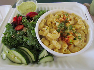Mac and Cheese with Kale Salad and Avocado Dressing from Three Carrots