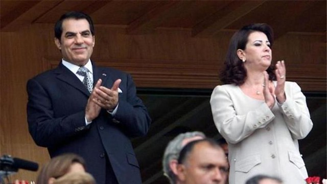 Zine el-Abidine Ben Ali with his wife Leila