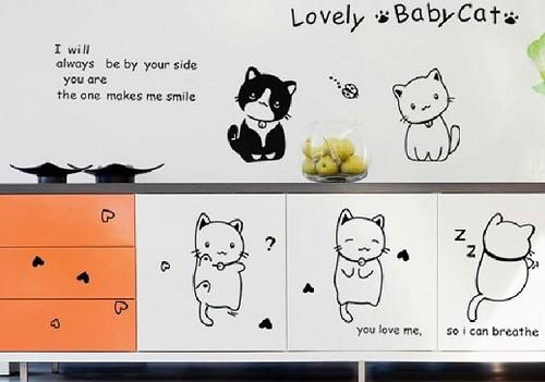(卡通可爱小猫咪)墙贴纸客厅卧室电视背景墙楼梯儿童