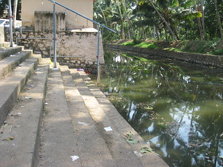 The river ghats at Thiruvallam now closed for the public