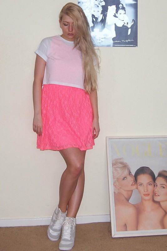 Neon, Sam Muses, Primark, Tammy, Lace Dress, Pink, Crop Top, Boyfriend Tee, T-Shirt, Wedge High Tops, Hi-Tops, Trainers