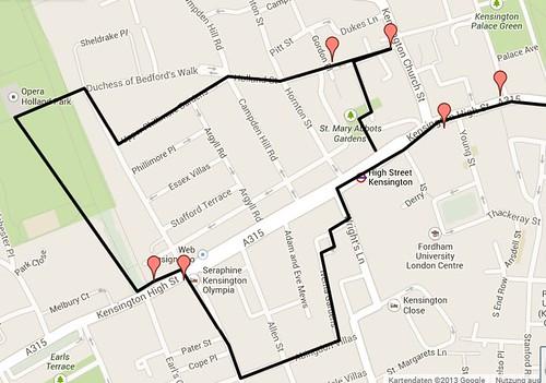 Google map Kensington Walk