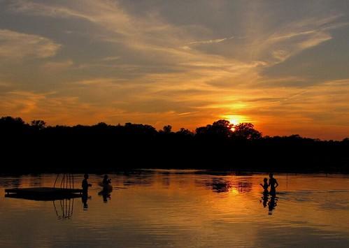 sunset summer lake water silhouette silhouettes lakegarrison