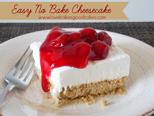 Easy No-Bake Cheesecake with red sauce and cherries on plate with fork.