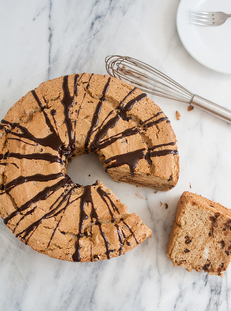Mocha Chocolate Chip Angel Food Cake with Mocha Ganache