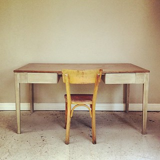Vintage 1958 English desk. Big enough for two screens and lots of inspirational design books!