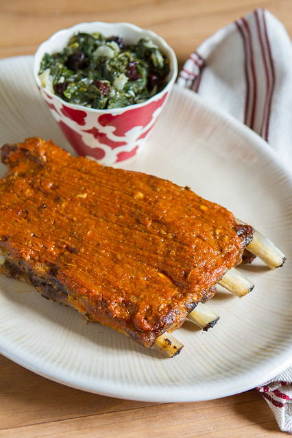 Slow Cooker Pork Spare Ribs with Spicy Peach-Mango BBQ Sauce
