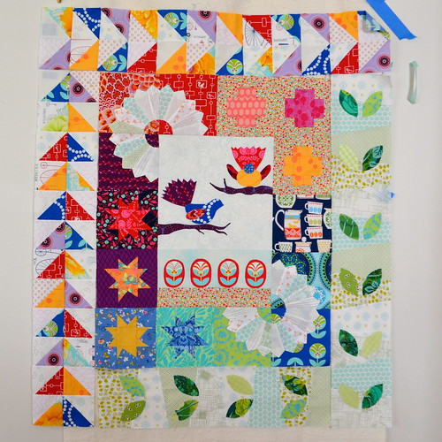 Garden for Birds quilt still in progress