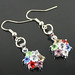Small photo of Kleur bloemvorm lichtmetalen diamanten oorbellen