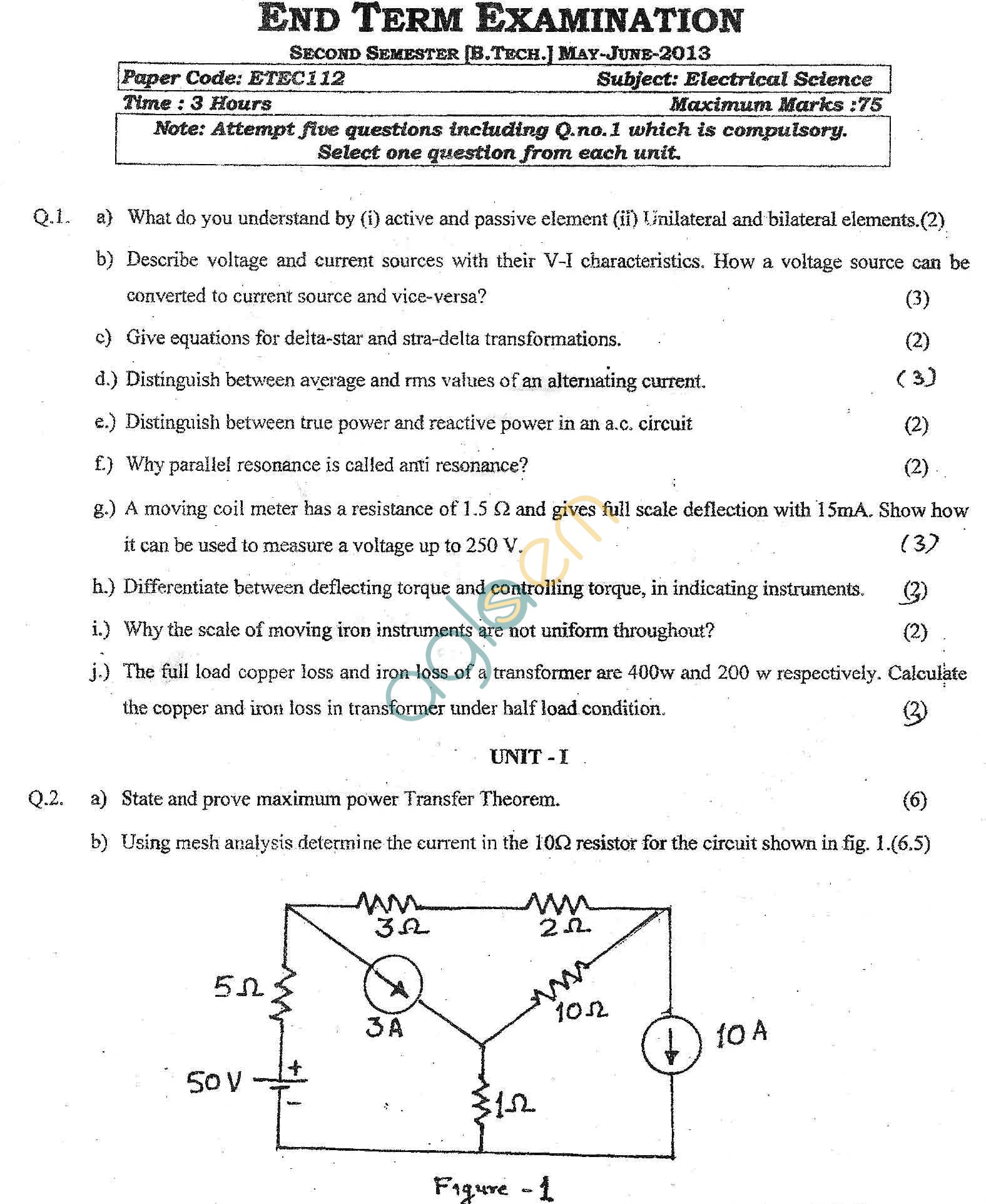 GGSIPU Question Papers Second Semester – End Term 2013 – ETEC-112