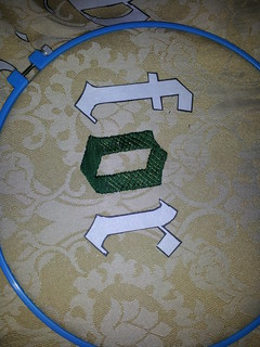 Beginning the stitching on giant banner