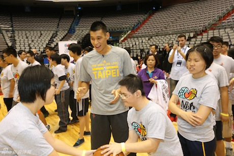 October 12, 2013 - Jeremy Lin with Special Olympics kids in Taipei, Taiwan