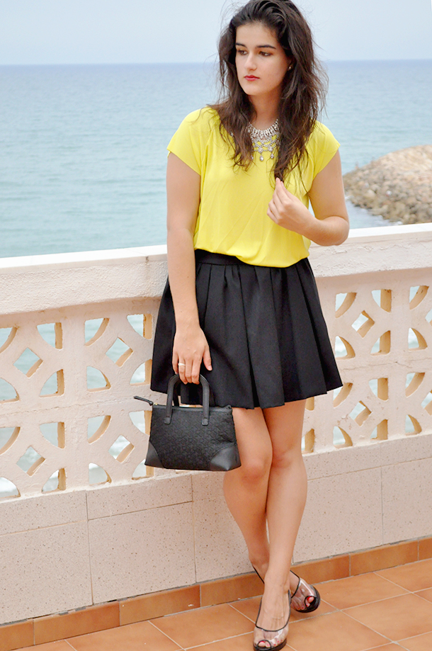 something fashion, neon outfit top, DKNY bag, rhinestone elegant zara necklace