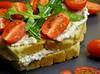Tomato and arugula sandwich with eggplant cream cheese II