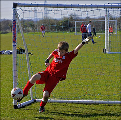 Sat 10 April 2010. - Monkton Youth Football Club, Football Training. - The Recreation Ground, Monkton. - Under eight goalkeeper....