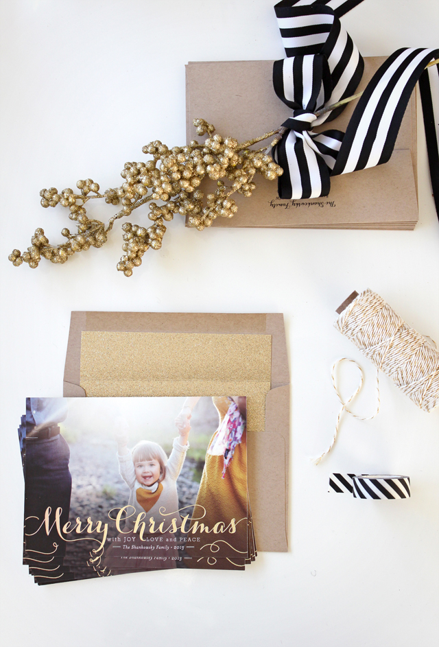 Gold Foil Christmas Cards, minted