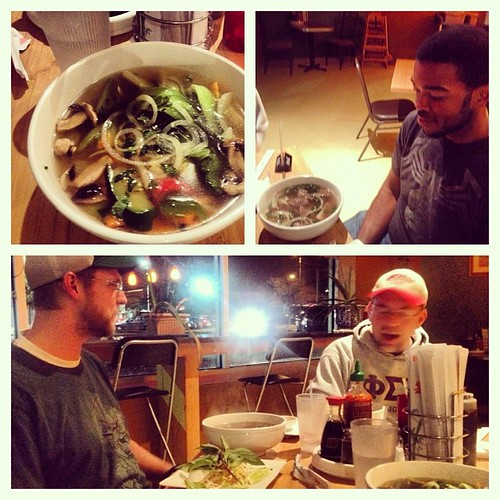 Last night we had #pho! It was delicious. I had a veggie pho and Willie had a bit of everything.