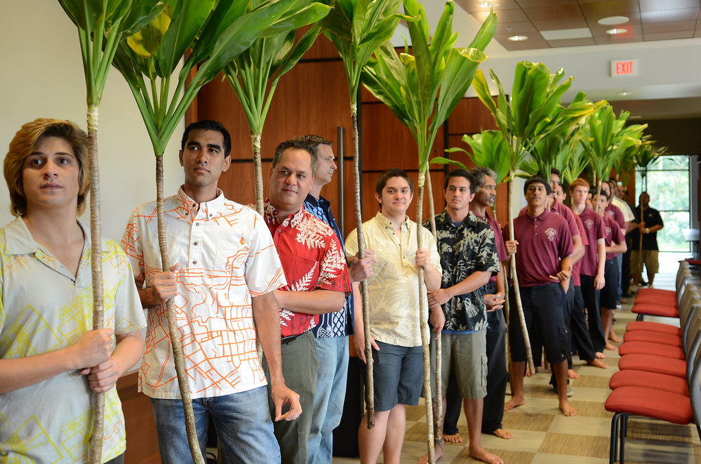 <p>UH Hilo Hawaiian language students and high schools students from Nāwahīokalaniʻōpuʻu laboratory school holding ti leaves, symbolizing spiritual blessings for the dedication ceremonies.</p>