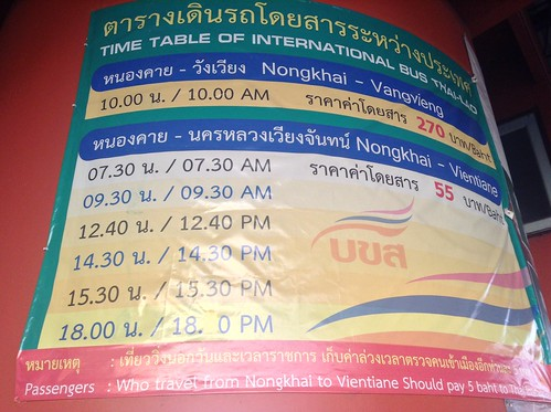 Nongkhai - Laos bus timetable