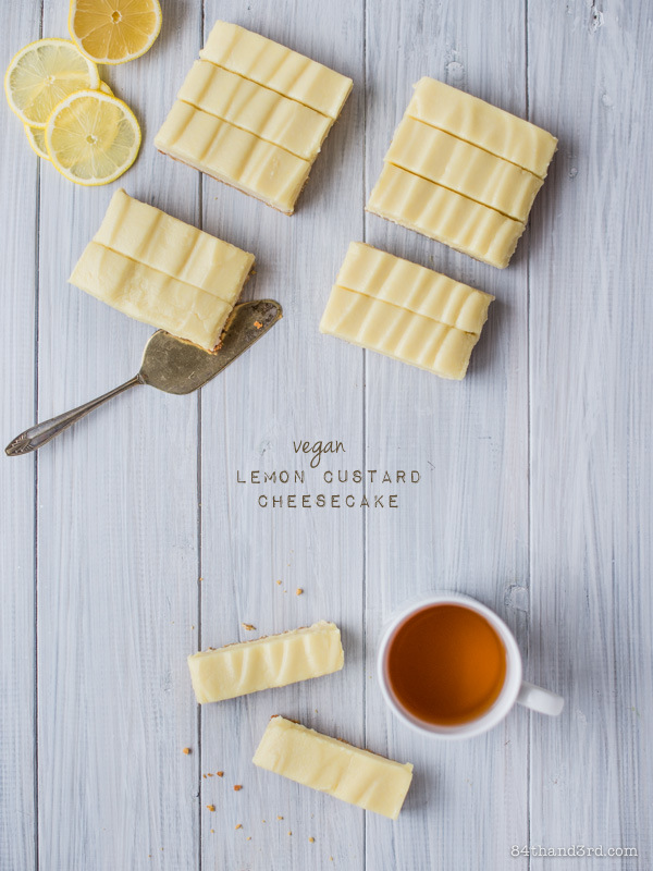 Vegan Lemon Custard Cheesecake Bars {GF VG DF SF}