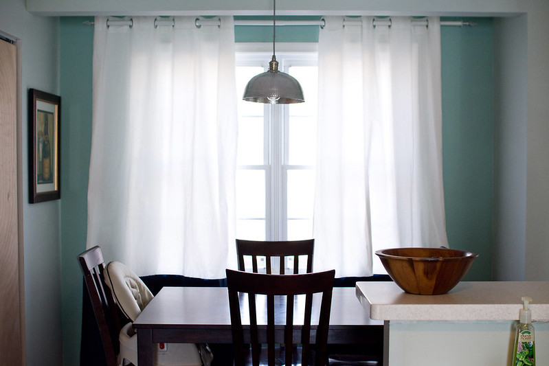 Dining Area with DIY Bowl Light and Painted Curtains | Cook Like a Champion Kitchen Renovation
