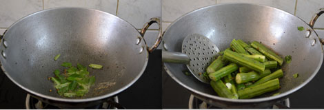 preparing drumstick sambar