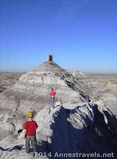 Walking the ridge on the badlands around Angel's Peak Wilderness Area, New Mexico