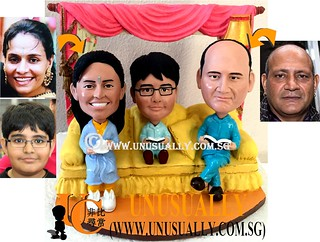 Custom 3D Sweet Lovely Family Of 3 In Living Room Figurines - © www.unusually.com.sg