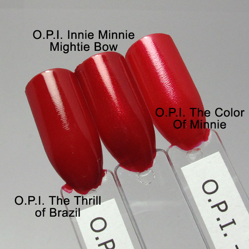 O.P.I. Innie Minnie Mightie Bow comparison