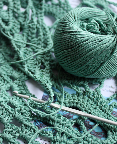 Green crochet scarf WIP by Helen in Wales