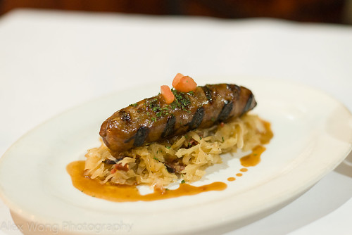 Wild Boar Sausage with White Wine Sauerkraut