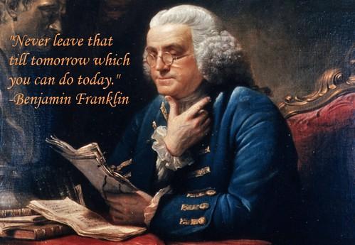 Ben Franklin on overcoming procrastination