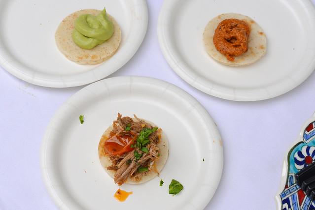 Momed duck shawarma, avocado hummus, muhammara