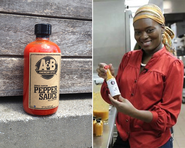 A&B American Style Condiments (left). Sonya Samuel  of Bacchanal Pepper Sauce (right); photo courtesy of foodcurated.com.