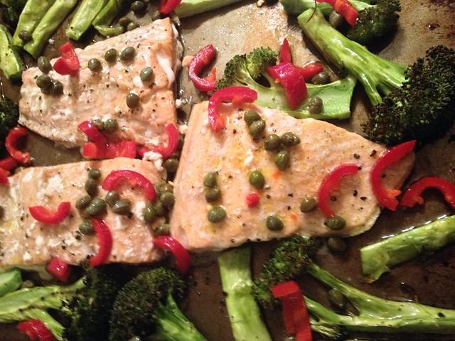 roasted salmon and broccoli with caper-chili vinaigrette