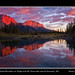 Sunrise with Goat Mountain or Ridge and Mt. Yamnuska east of Canmore, Alberta by kgogrady