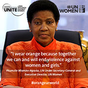 UN Women Executive Director Phumzile Mlambo-Ngcuka wears orange because