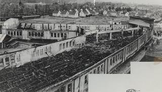 Vognhallen på Dalsenget etter brannen / Professor Brochs gate 6 (1956)