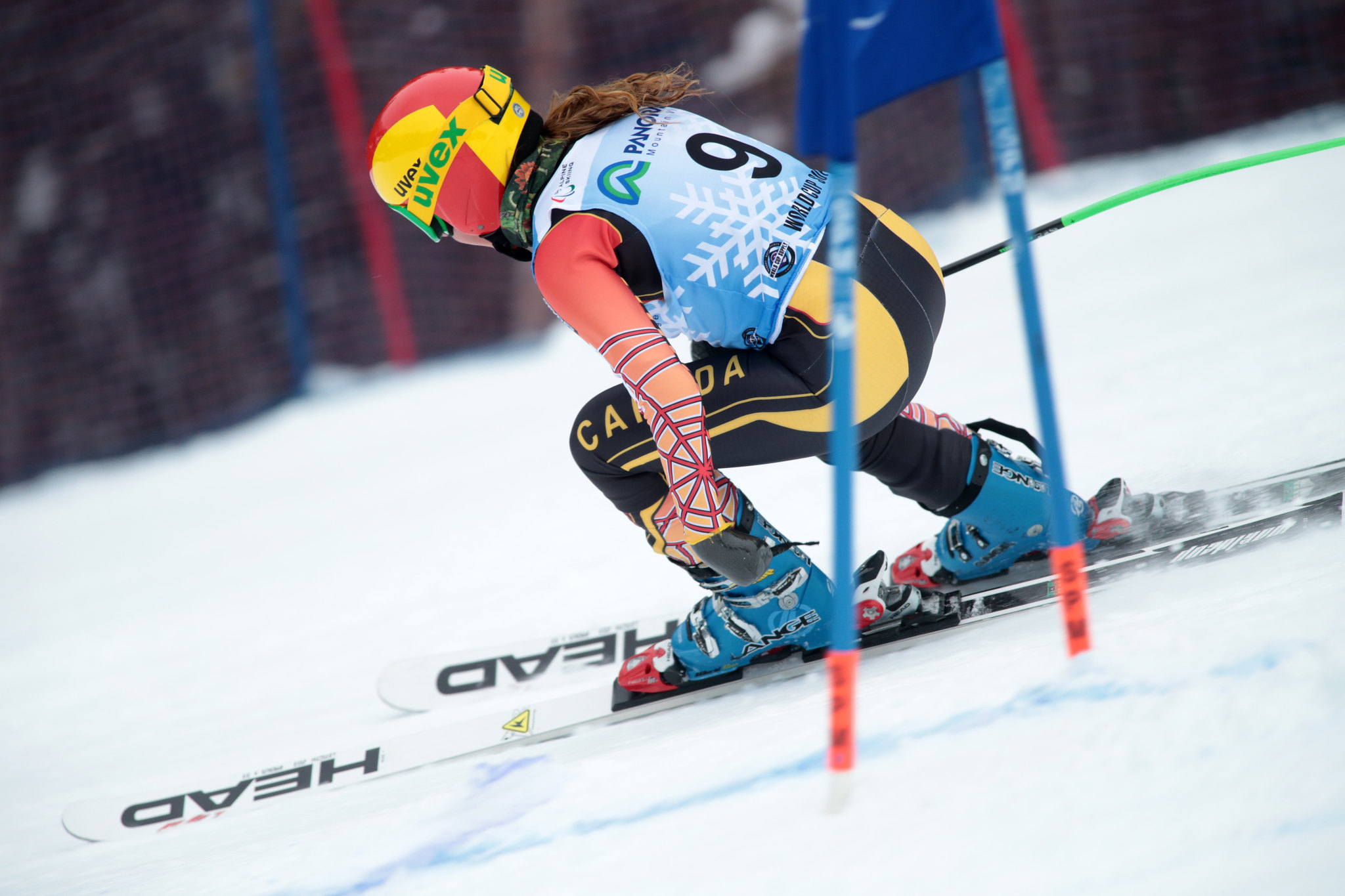 Starker in action during the Super-G at the IPC World Cup in Panorama, CAN