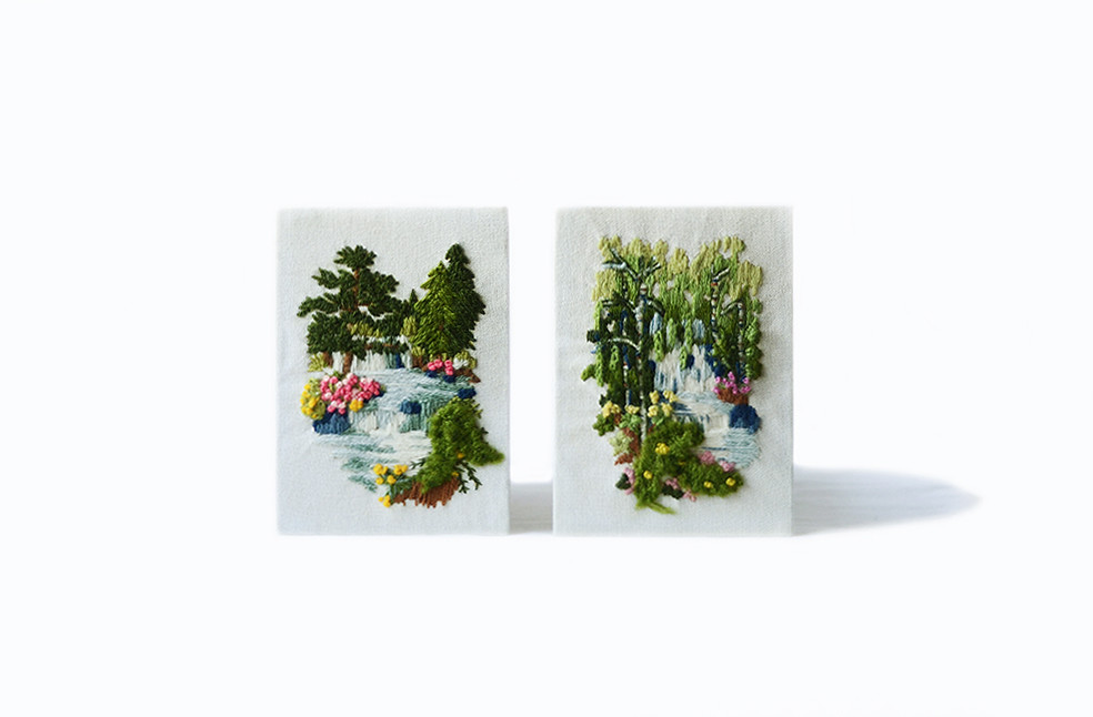 Two Vintage Woodland Waterfall Embroidery Pieces