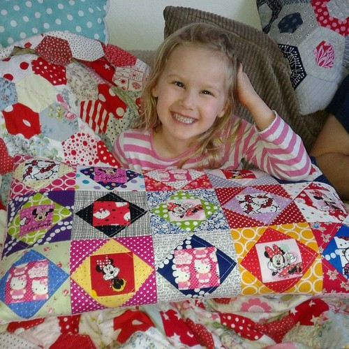 Economy block pillow all finished, and one happy customer!