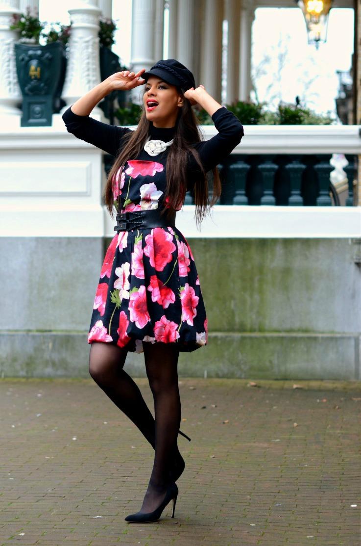 DSC_3992 Floral dress, H&M fisherrmans hat, Amsterdam Fashion week 2014 final