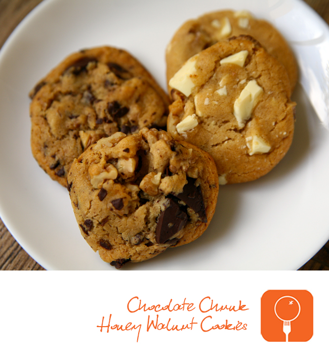 Chocolate Chunk Honey Walnut Cookies