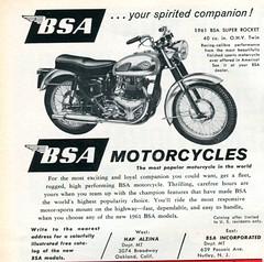 1961 BSA Super Rocket Advertisement Motor Trend April 1961