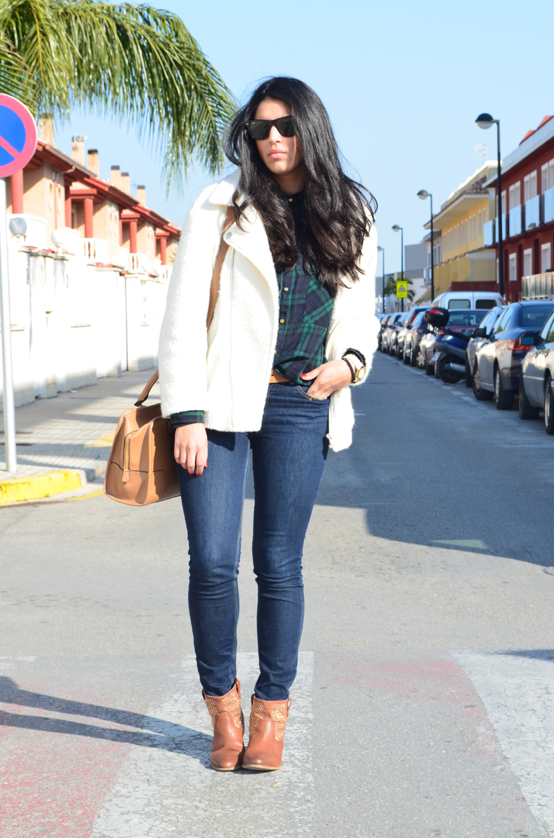 florenciablog chaqueta fieltro inspiration tartan cream jacket casual look bloggers gandia