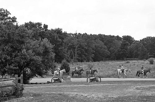 Battlefield Here and There ... Trostle Barn with Horse Tour Going by, Gettysburg, Pennsylvania USA