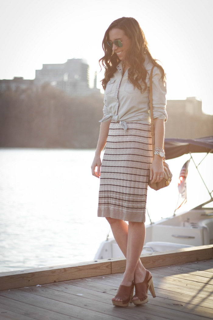 va darling. dc blogger. virginia personal style blogger. georgetown waterfront. midi striped skirt. chambray top. wooden leather clogs. 2