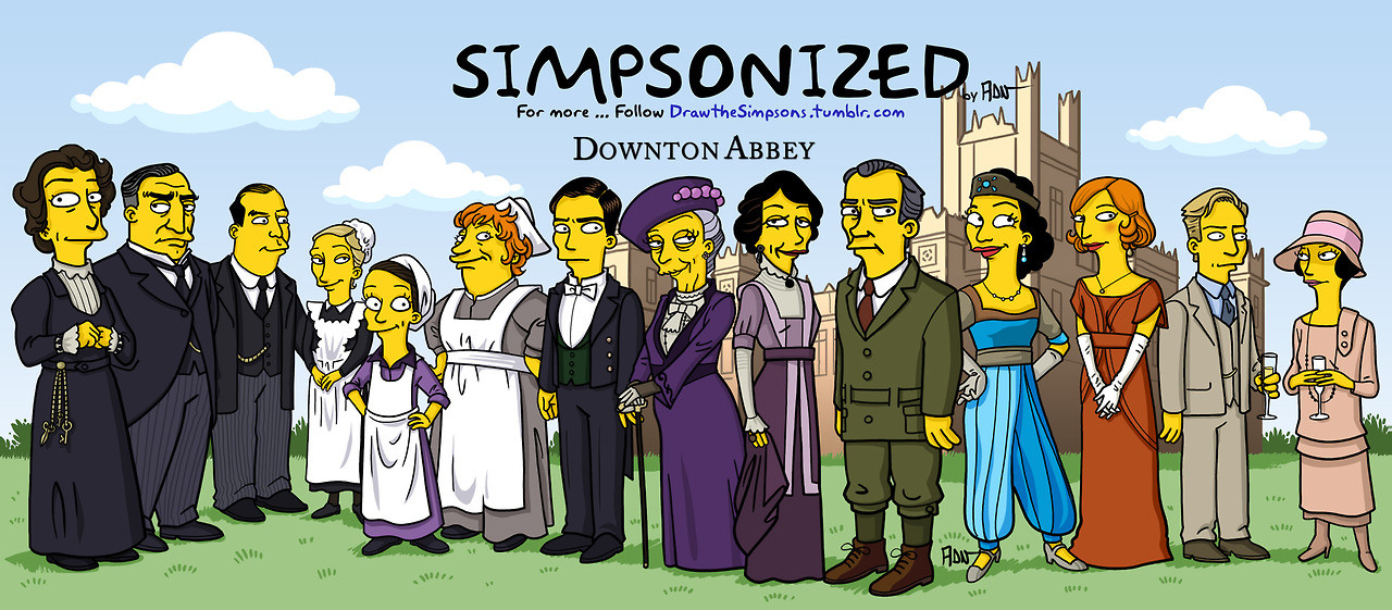The Downton Abbey cast 'Simpsonized'.