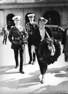 Lady Winifred Wilson carrying a wreath at an Anzac Day ceremony in Brisbane, 1937